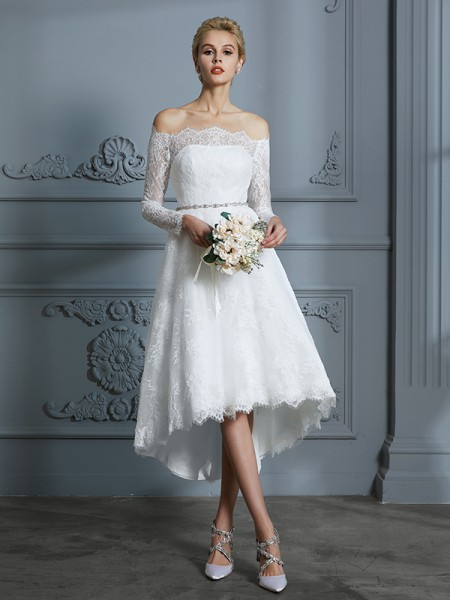 A-Line/Princess Long Sleeves Off-the-Shoulder Lace Asymmetrical Lace Wedding Dresses