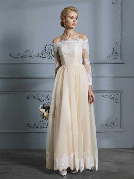 A-Line/Princess Long Sleeves Off-the-Shoulder Lace Floor-Length Tulle Wedding Dresses