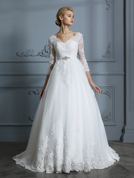 Ball Gown 3/4 Sleeves V-neck Lace Court Train Tulle Wedding Dresses