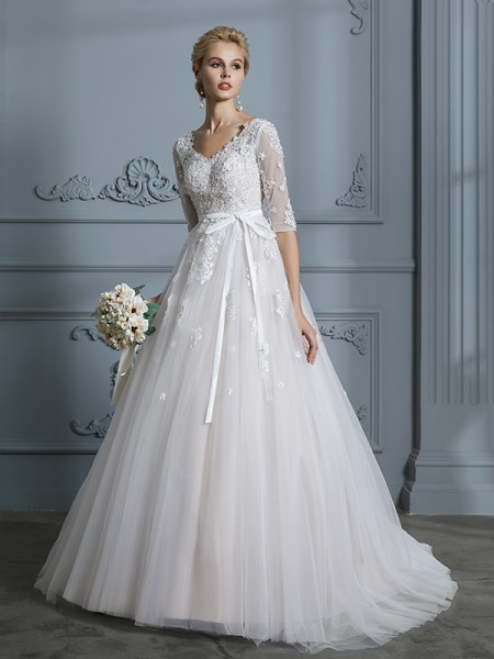 Ball Gown 1/2 Sleeves V-neck Lace Court Train Tulle Wedding Dresses