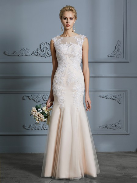 Trumpet/Mermaid Sleeveless Scoop Applique Floor-Length Tulle Wedding Dresses