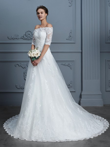 Ball Gown 1/2 Sleeves Off-the-Shoulder Beading Court Train Lace Wedding Dresses