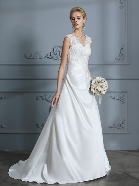 A-Line/Princess Sleeveless V-neck Applique Sweep/Brush Train Satin Wedding Dresses