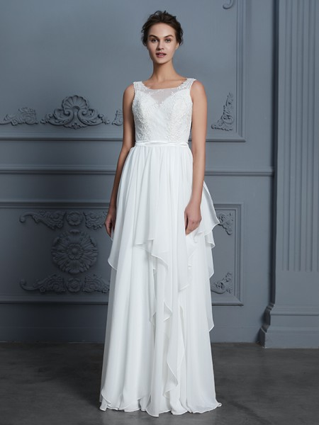A-Line/Princess Sleeveless Scoop Ruffles Floor-Length Chiffon Wedding Dresses