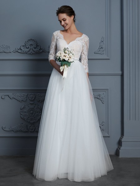A-Line/Princess 3/4 Sleeves V-neck Lace Floor-Length Tulle Wedding Dresses