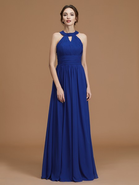 A-Line/Princess Sleeveless Halter Ruched Floor-Length Chiffon Bridesmaid Dresses