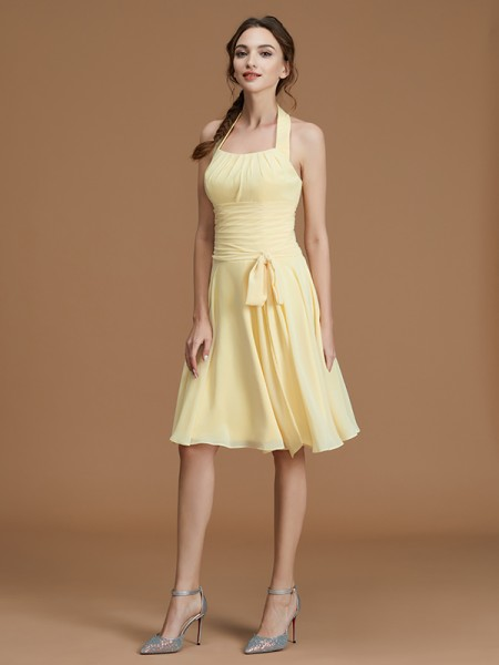 A-Line/Princess Sleeveless Halter Ruffles Short/Mini Chiffon Bridesmaid Dresses