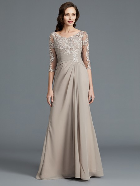 A-Line/Princess 1/2 Sleeves Scoop Applique Floor-Length Chiffon Mother of the Bride Dresses