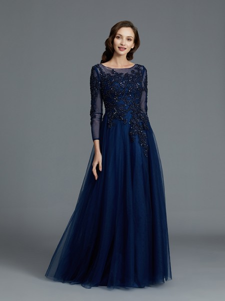 A-Line/Princess Long Sleeves Scoop Floor-Length Tulle Mother of the Bride Dresses