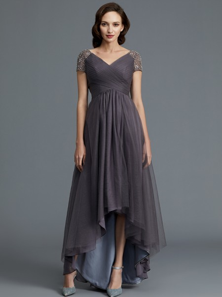 A-Line/Princess Short Sleeves V-neck Asymmetrical Tulle Mother of the Bride Dresses