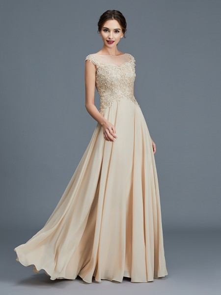 A-Line/Princess Sleeveless Scoop Ruffles Floor-Length Chiffon Mother of the Bride Dresses