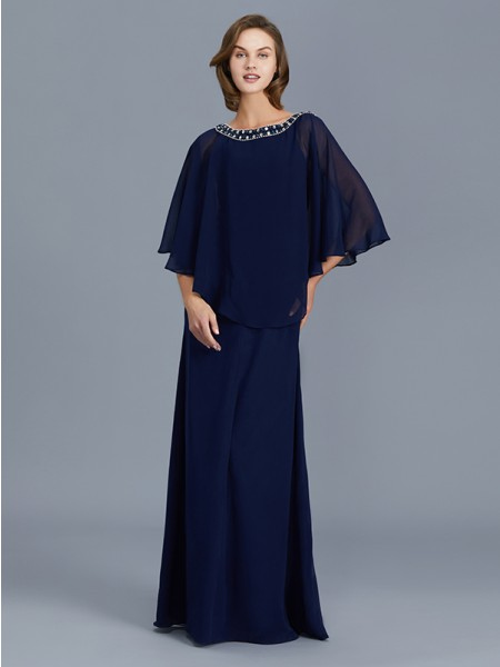 Sheath/Column Long Sleeves Scoop Beading Floor-Length Chiffon Mother of the Bride Dresses