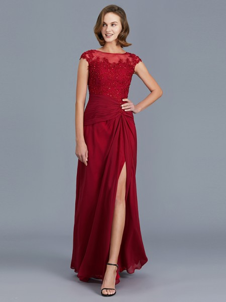 f0820bf2b6b Sheath Column Sleeveless Scoop Ruffles Floor-Length Chiffon Mother of the Bride  Dresses