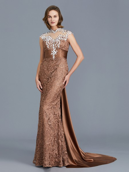 Trumpet/Mermaid Sleeveless Scoop Beading Floor-Length Lace Mother of the Bride Dresses