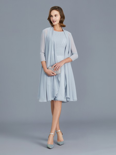 A-Line/Princess Sleeveless Scoop Ruffles Knee-Length Chiffon Mother of the Bride Dresses