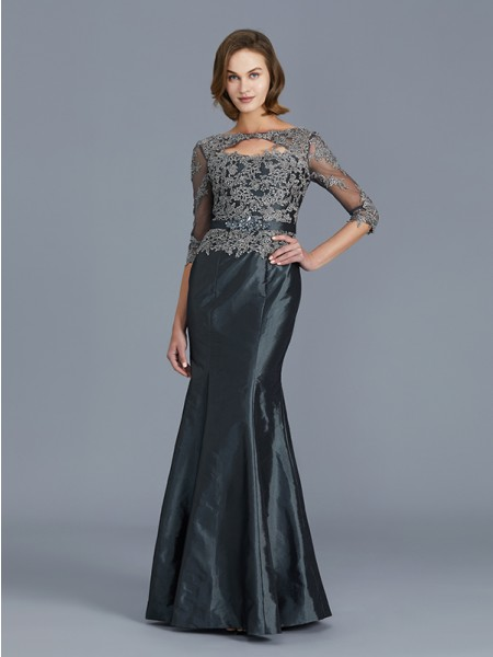 Trumpet/Mermaid 3/4 Sleeves Scoop Applique Floor-Length Taffeta Mother of the Bride Dresses