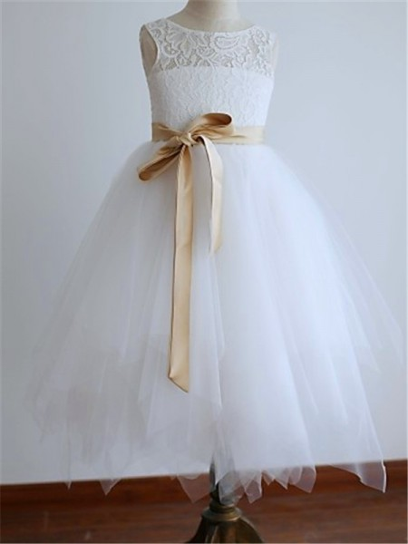 A-Line/Princess Sleeveless Scoop Sash/Ribbon/Belt Floor-Length Tulle Flower Girl Dresses