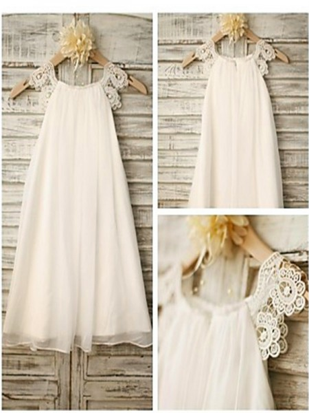 A-Line/Princess Sleeveless Scoop Lace Floor-Length Chiffon Flower Girl Dresses