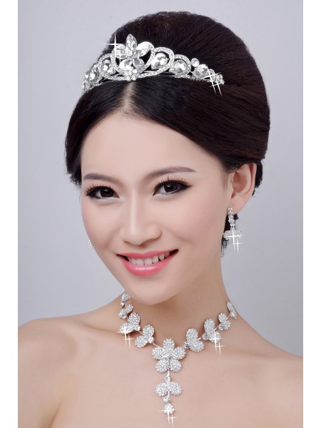 Hot Sale Alloy Clear Crystals Flower Wedding Headpieces Necklaces Earrings Set