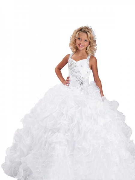 Ball Gown Sleeveless Straps Beading Floor-Length Organza Flower Girl Dresses