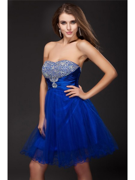 A-Line/Princess Sleeveless Strapless Beading Short/Mini Elastic Woven Satin Dresses