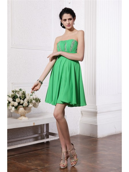 Sheath/Column Sleeveless Strapless Beading Short/Mini Chiffon Dresses