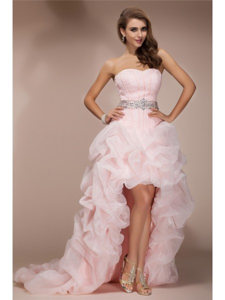 A-Line/Princess Sleeveless Sweetheart Beading Asymmetrical Organza Dresses