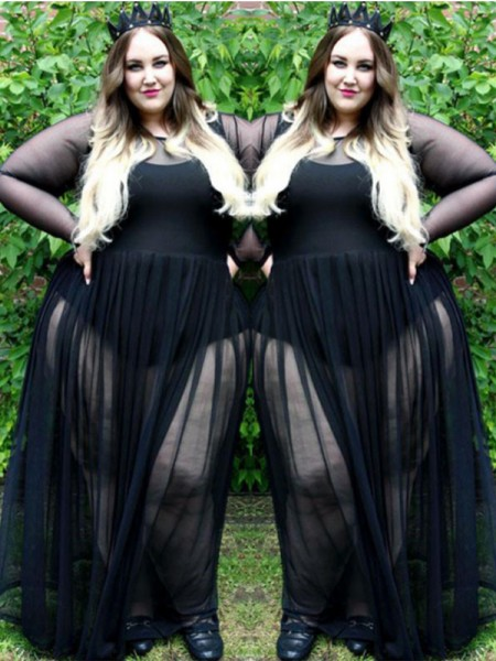 A-Line/Princess Long Sleeves Sheer Neck Ruched Floor-Length Chiffon Plus Size Dresses