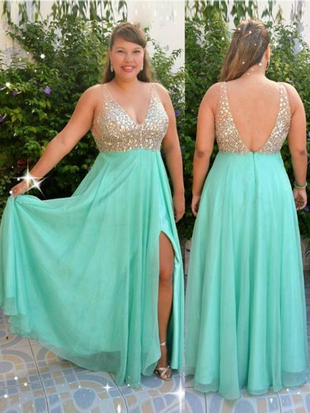 A-Line/Princess Sleeveless V-neck Beading Floor-Length Chiffon Plus Size Dresses