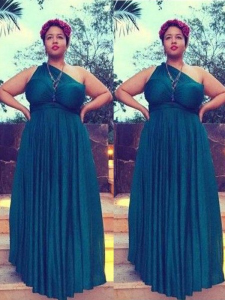 A-Line/Princess Sleeveless One-Shoulder Ruched Floor-Length Chiffon Plus Size Dresses