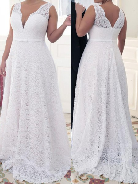 A-Line/Princess Sleeveless V-neck Lace Sweep/Brush Train Lace Plus Size Dresses