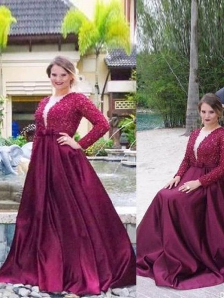 A-Line/Princess Long Sleeves V-neck Beading Sweep/Brush Train Satin Plus Size Dresses