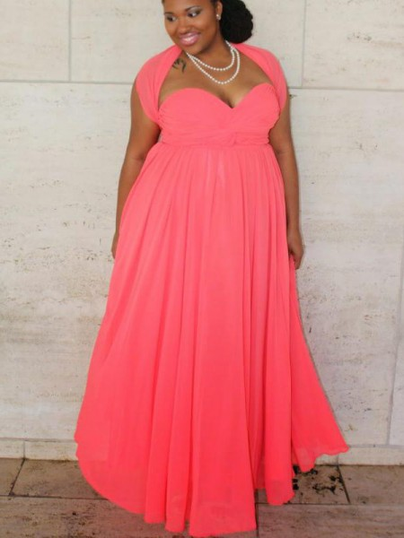 A-Line/Princess Sleeveless Sweetheart Ruched Floor-Length Chiffon Plus Size Dresses