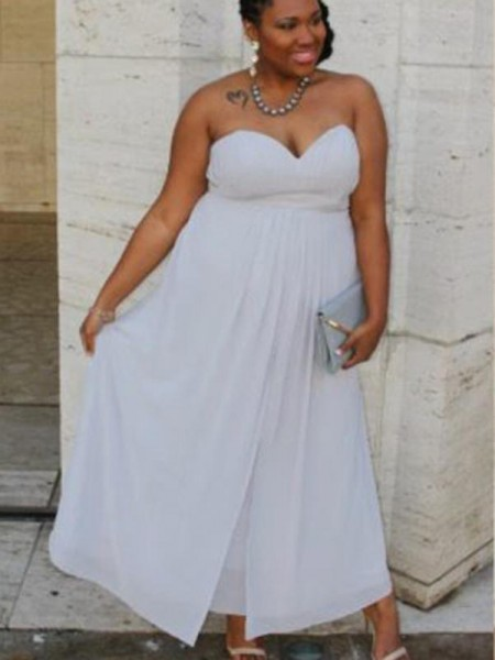 A-Line/Princess Sleeveless Sweetheart Ruched Ankle-Length Chiffon Plus Size Dresses