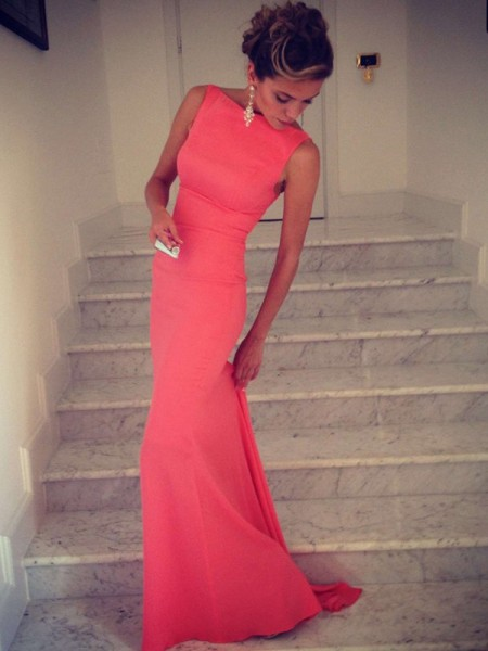 Trumpet/Mermaid Sleeveless High Neck Floor-Length Spandex Dresses