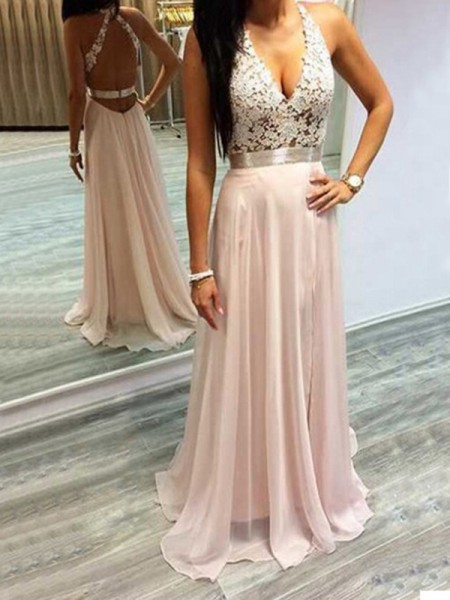 A-Line/Princess Sleeveless Halter Lace Sweep/Brush Train Chiffon Dresses