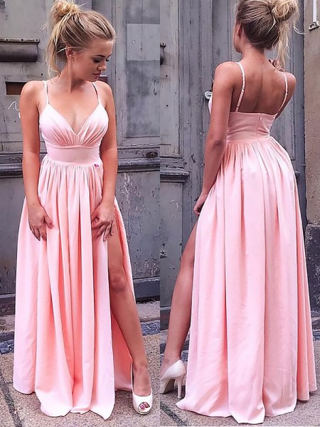 A-Line/Princess Sleeveless Straps Ruched Floor-Length Chiffon Dresses