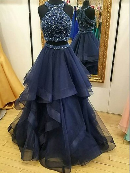 A-Line/Princess Sleeveless Halter Beading Floor-Length Tulle Two Piece Dresses