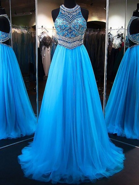 A-Line/Princess Sleeveless Jewel Beading Sweep/Brush Train Tulle Dresses