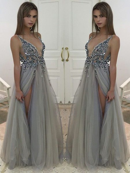 A-Line/Princess Sleeveless V-neck Beading Floor-Length Tulle Dresses
