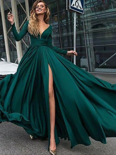 A-Line/Princess Long Sleeves V-neck Ruffles Sweep/Brush Train Satin Chiffon Dresses