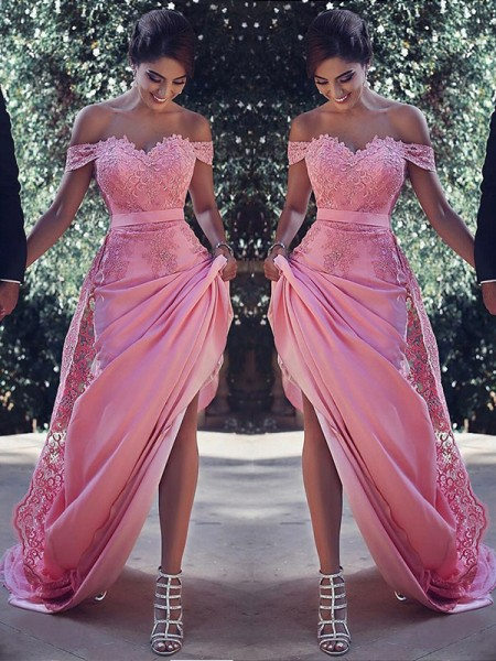 Sheath/Column Sleeveless Off-the-Shoulder Lace Sweep/Brush Train Silk like Satin Dresses