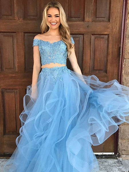 A-Line/Princess Sleeveless Off-the-Shoulder Applique Floor-Length Tulle Two Piece Dresses