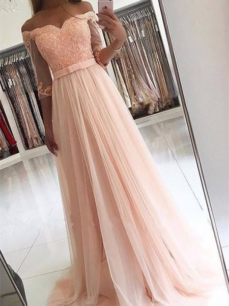 A-Line/Princess 3/4 Sleeves Off-the-Shoulder Sash/Ribbon/Belt Sweep/Brush Train Tulle Dresses