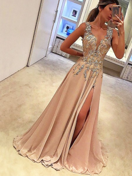 A-Line/Princess Sleeveless V-neck Applique Floor-Length Silk like Satin Dresses