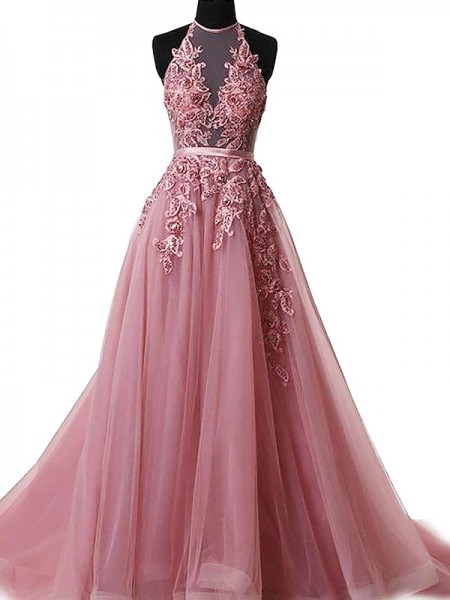 A-Line/Princess Sleeveless Halter Applique Sweep/Brush Train Tulle Dresses