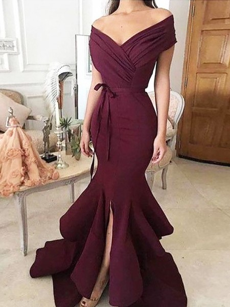 Trumpet/Mermaid Sleeveless Off-the-Shoulder Ruched Floor-Length Satin Dresses