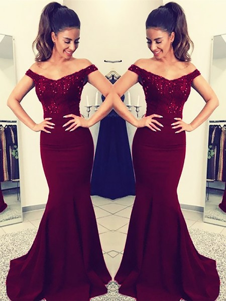 Trumpet/Mermaid Sleeveless Off-the-Shoulder Lace Sweep/Brush Train Satin Dresses