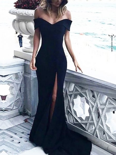 Sheath/Column Sleeveless Off-the-Shoulder Ruched Court Train Spandex Dresses