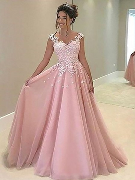 A-Line/Princess Sleeveless Sweetheart Applique Floor-Length Tulle Dresses